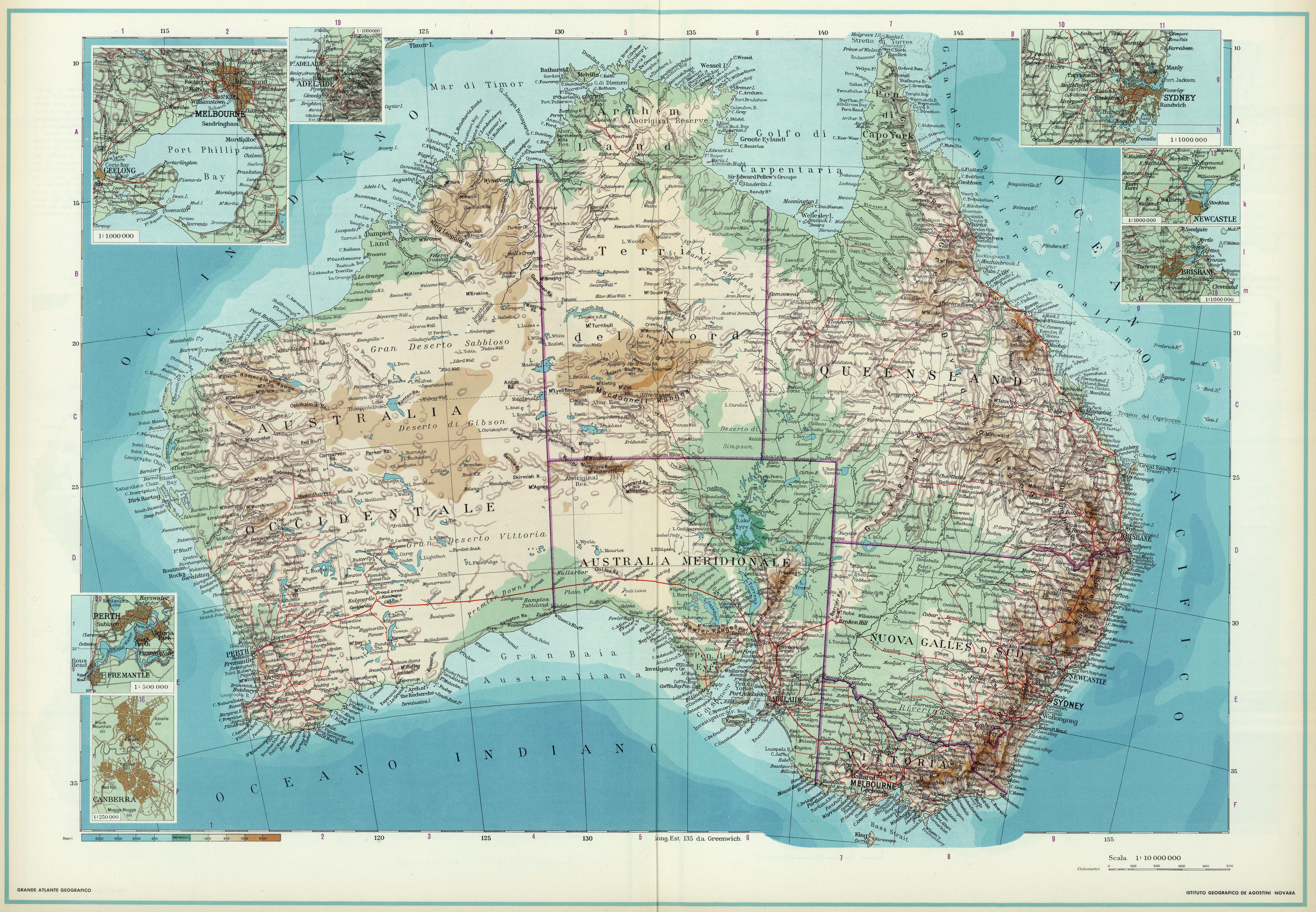 Topographic map of Australia (1952)