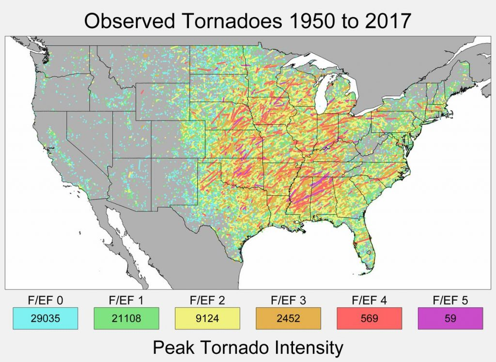 Observed tornadoes in the lower 48 United States, 1950-2017 ... on 50 states map united states, name all 52 united states, coloring map of the united states, map of the great lakes united states, contiguous united states, map of the united states of america in color, map of the midwest united states, large printable map united states, cultural map of the united states,