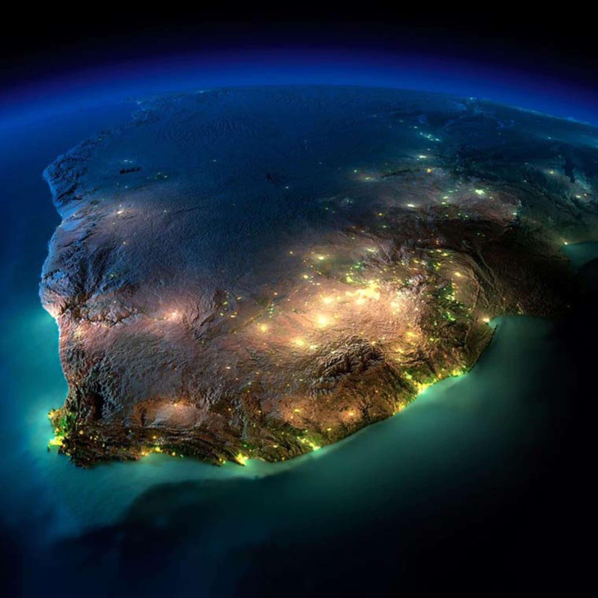 Relief Map Of Southern Africa.Exaggerated Relief Map Of Southern Africa At Night