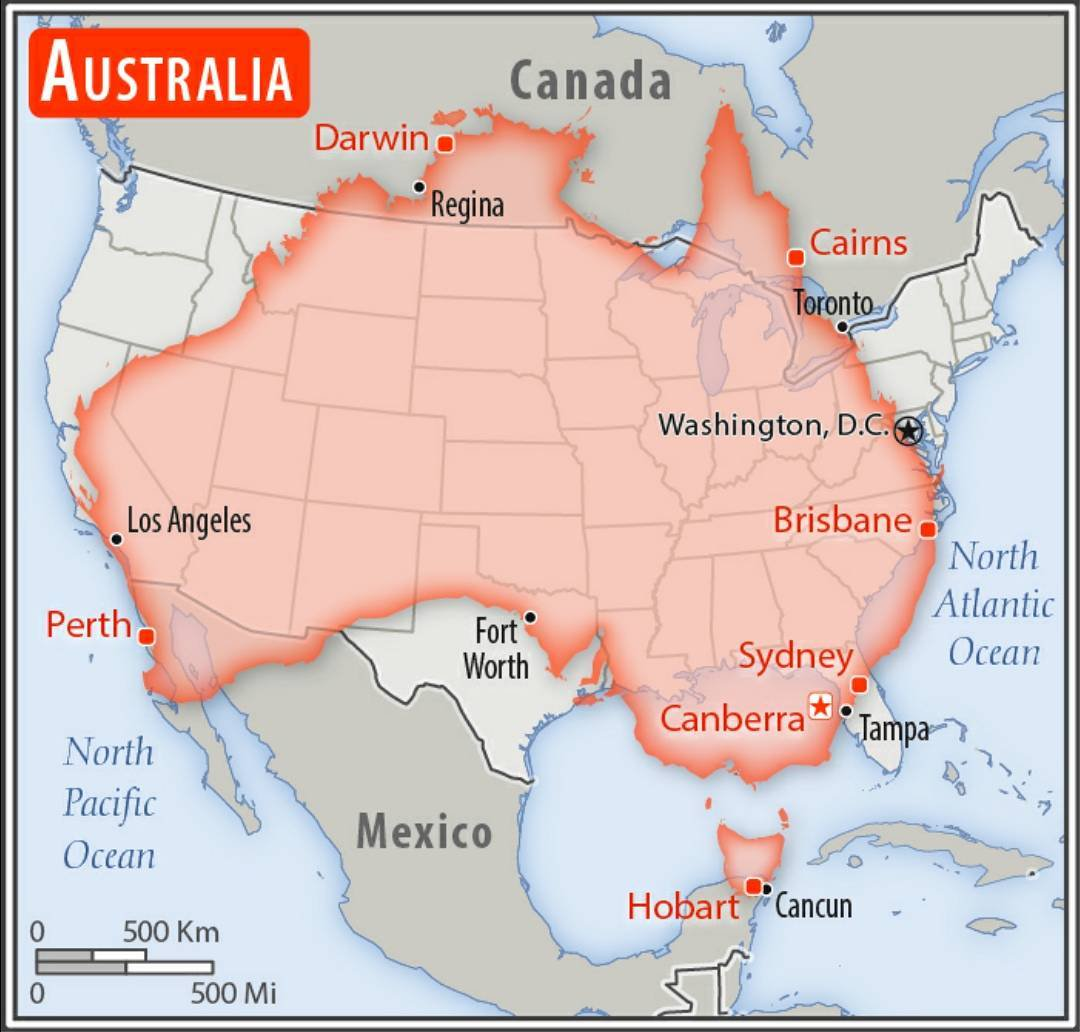 Map Of Australia Vs Usa.Size Comparison Between Australia And The United States Mapporn