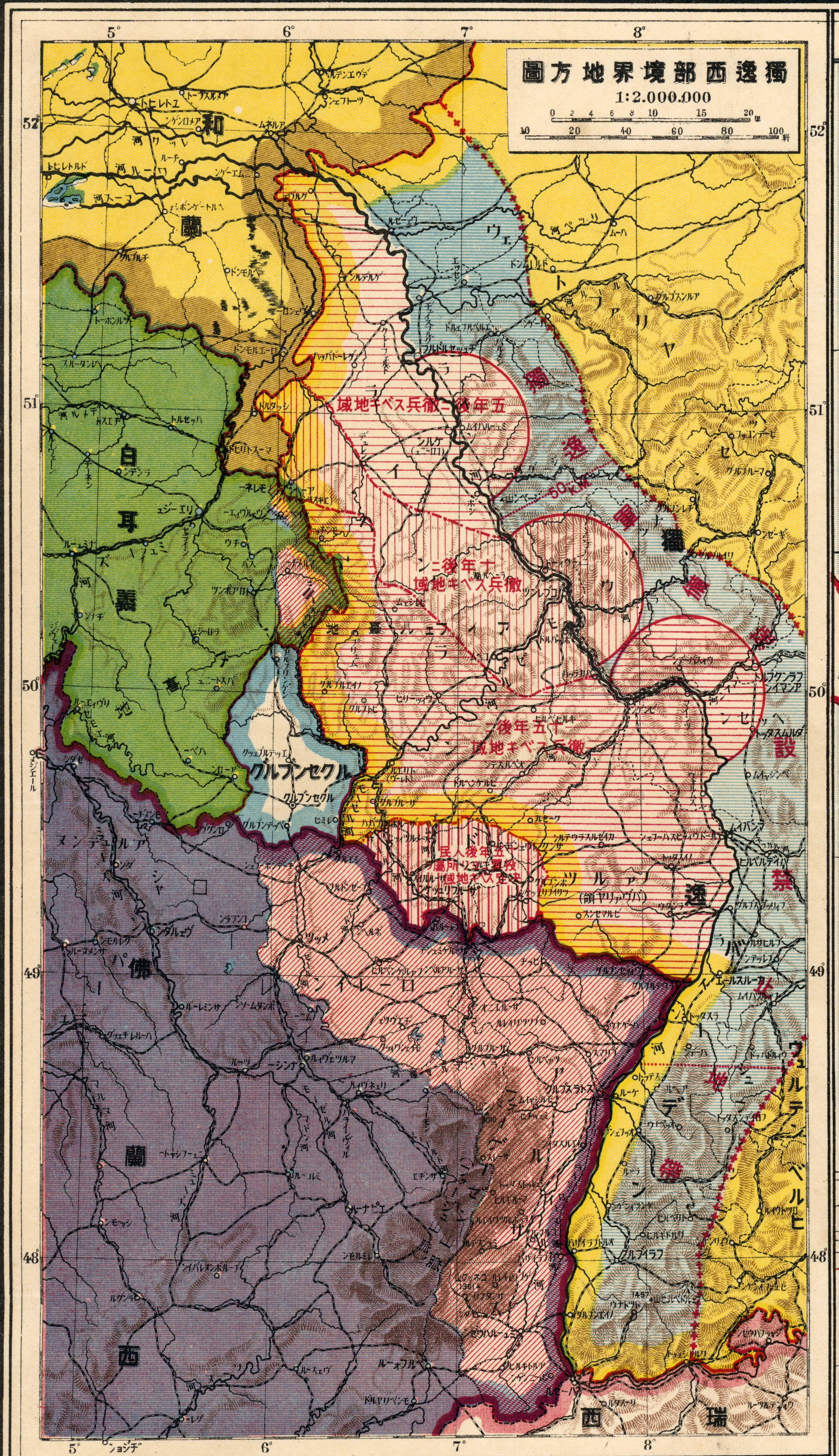Map Of Germany 1919.1919 Japanese Map Of South Western Germany With Its Bordering