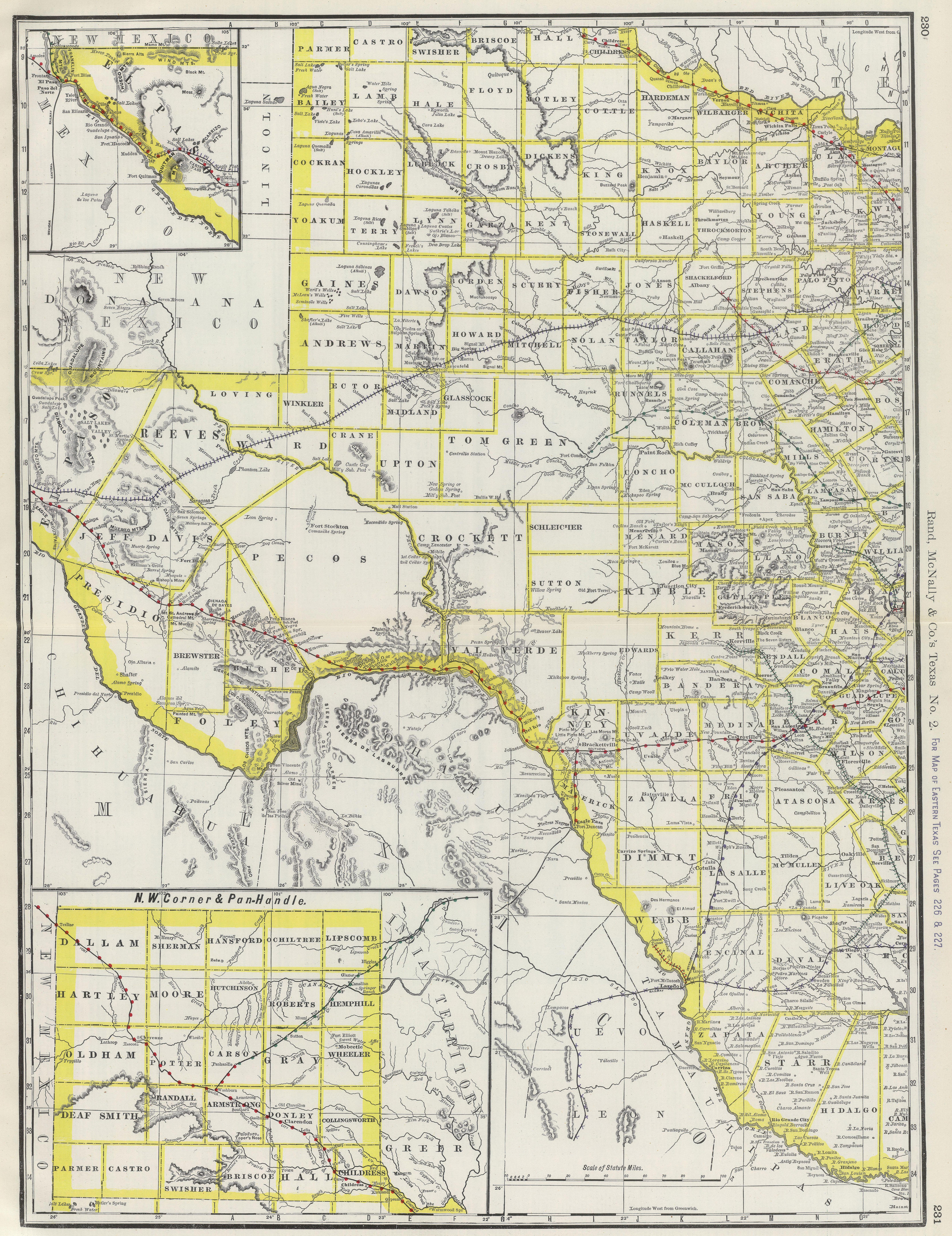 Map Of Western Texas.1888 Map Of Western Texas 6647 8626 Oldmaps